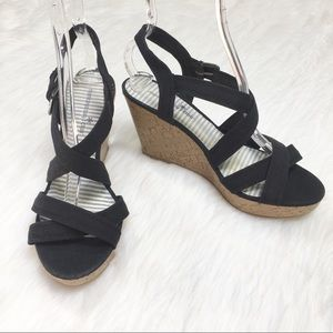 Montego BayClub Black Strappy Cork Platform Wedges